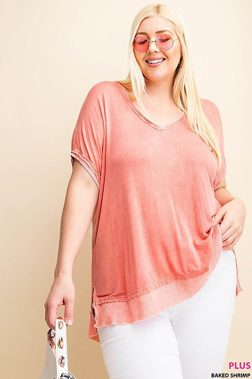 PLUS //Distressed Coral T-Shirt