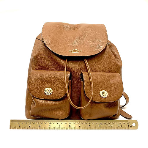 Camel Leather Coach Backpack