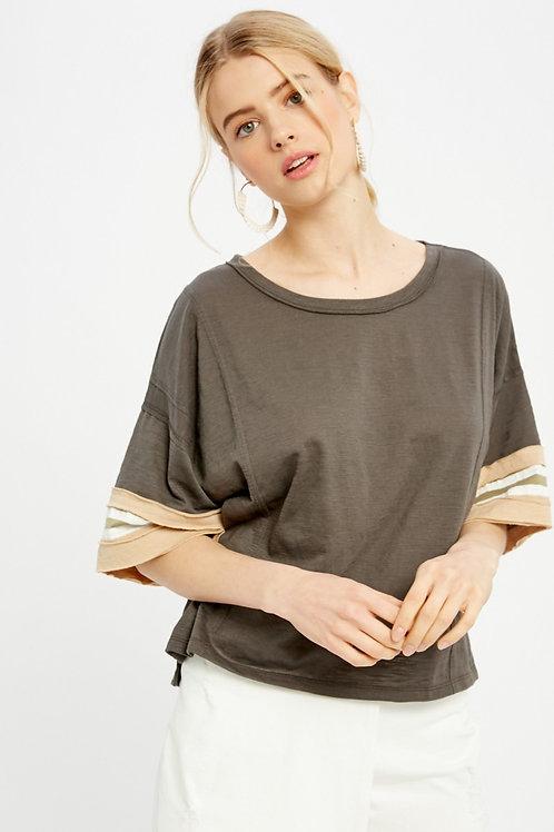 Charcoal Stripe Sleeve T-shirt