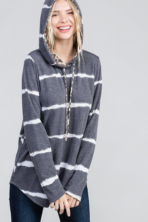 Grey Stripe Hoodie