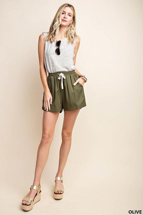 Olive Drawstring Shorts