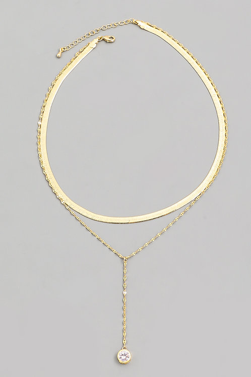 Rhinestone Herringbone Necklace