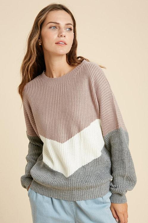 Mauve & Grey Chevron Sweater