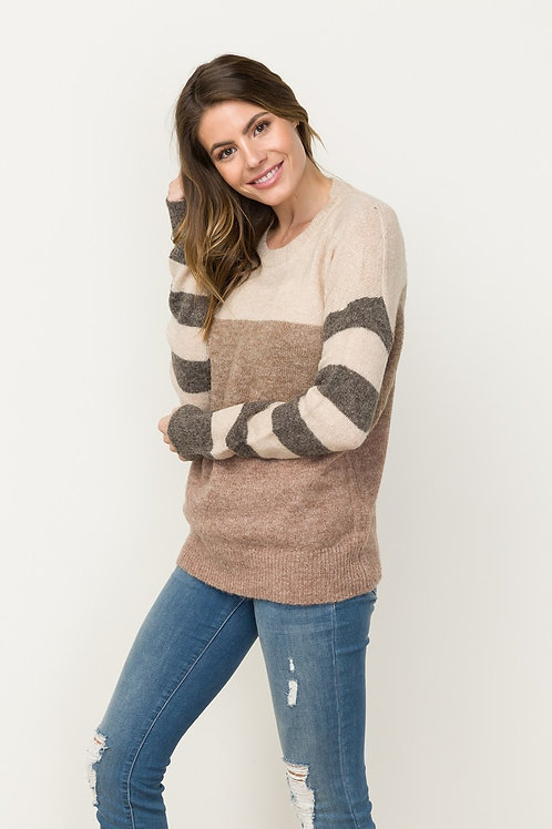 Taupe/Charcoal Stripe Sweater
