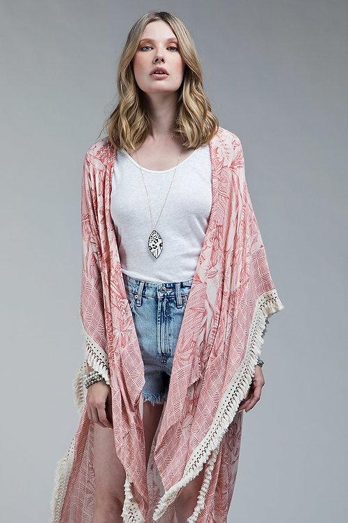One Size Coral Kimono