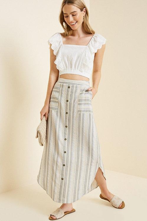Oatmeal Stripe Button Down Skirt