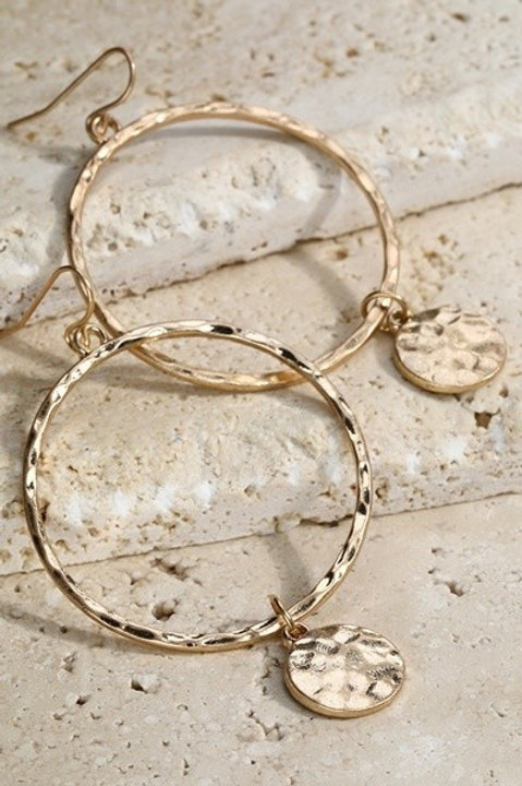 Hammered Gold Ring Earrings