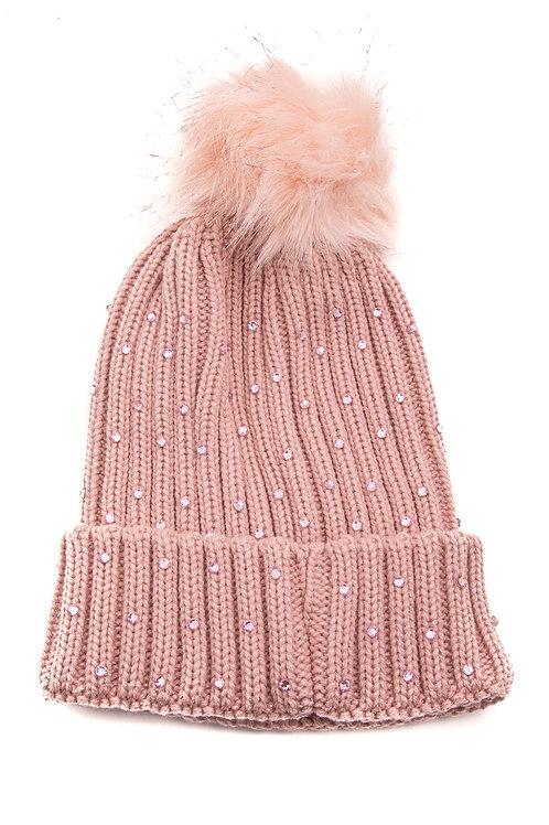 Pink Rhinestone Beanie