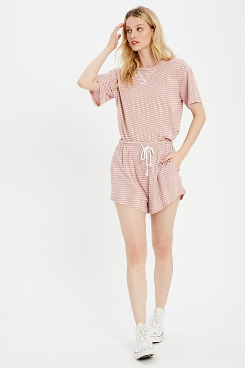 Mauve Stripe Lounge Set (Top+Shorts)