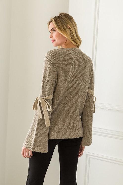 Mocha Sweater w/ Tie Bell Sleeves