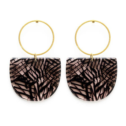 Mod Earrings - Black Lines
