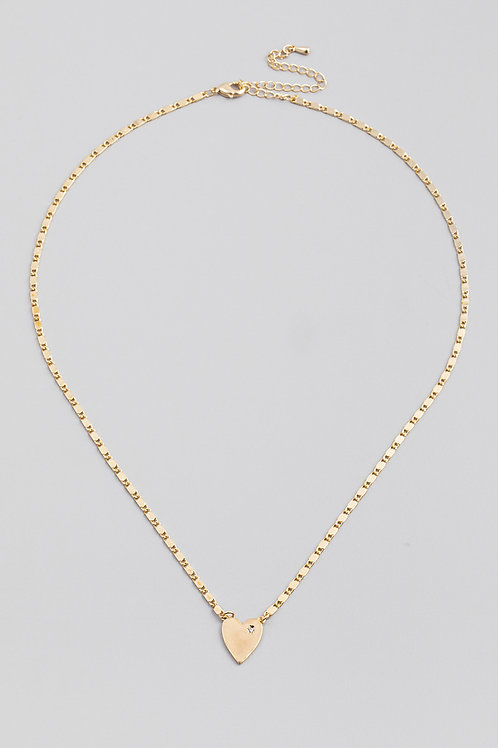 Gold Dainty Chain Heart Pendant Necklace
