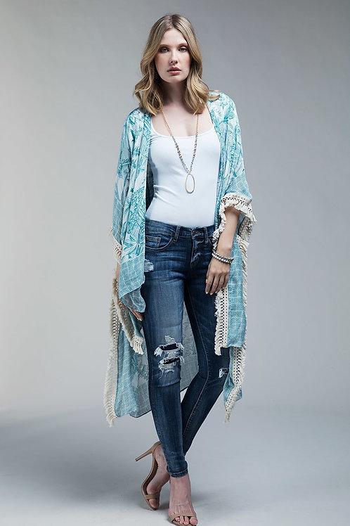 One Size Turquoise Kimono