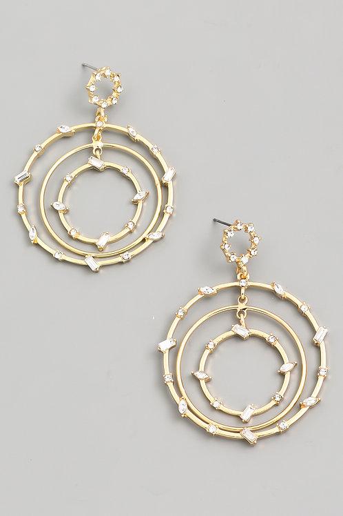 Clear Stone Circle Earrings