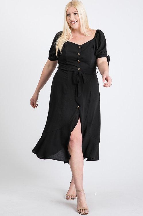 PLUS // Black Button Down Dress