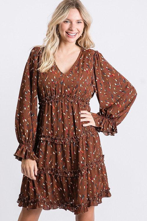 Brown Print Babydoll Dress