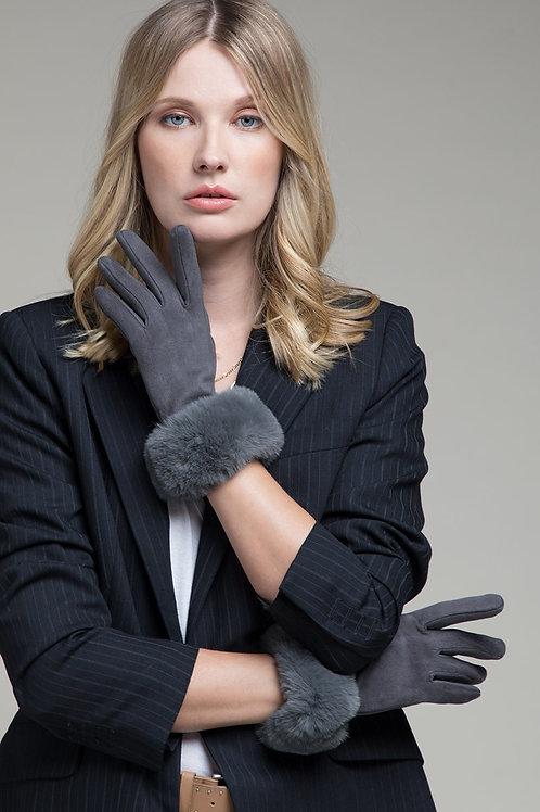 Grey Faux Fur Gloves