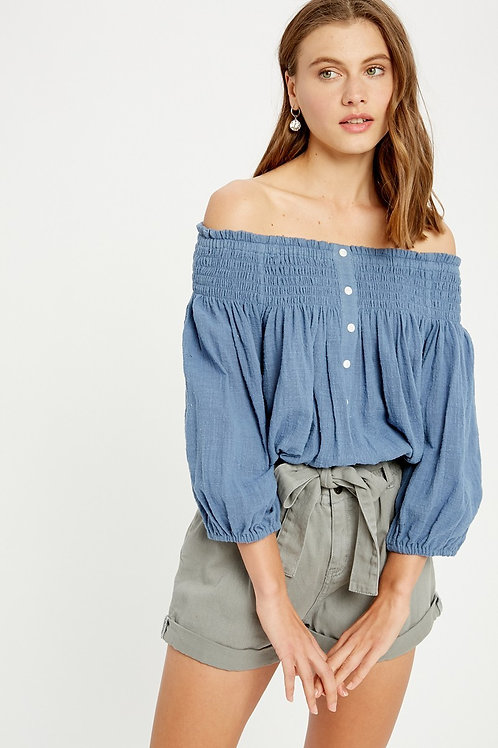 Blue Off-the-shoulder Blouse
