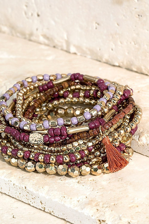 Purple & Gold Layered Bracelet Set