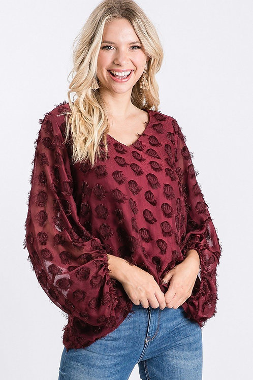 Burgundy Dotted Blouse