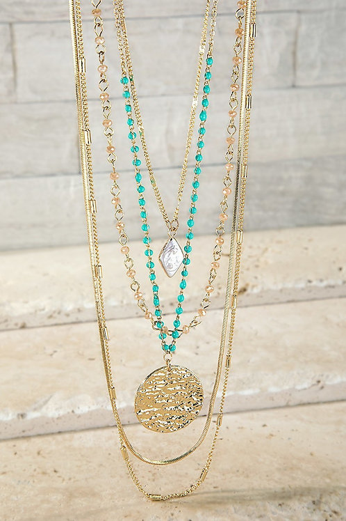 Layered Turquoise and Gold Necklace