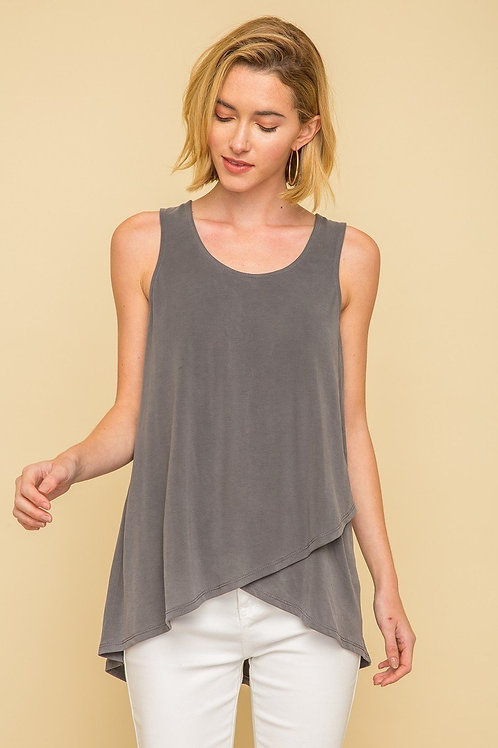 Charcoal Lace Up Back Tank