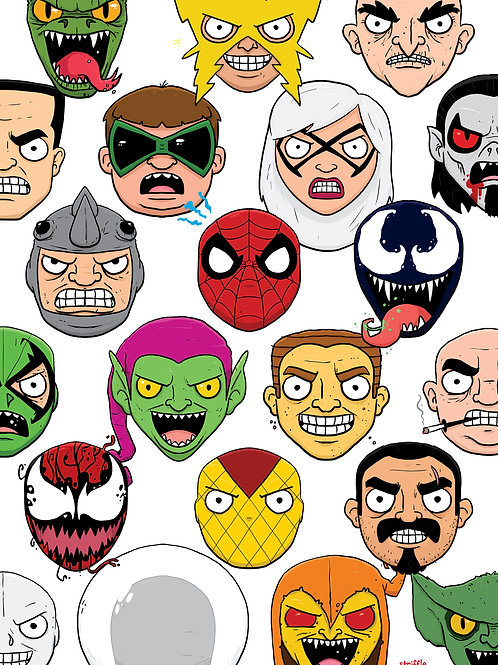 Spider-Man Rogues Gallery Print A4 or A5 size