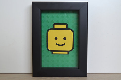 Lego Minifigure Head Framed Papercraft Artwork