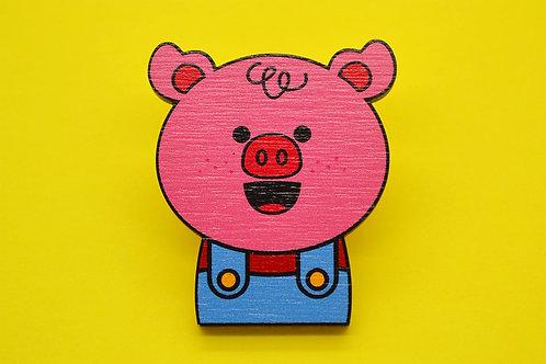 Piggy Wooden Pin