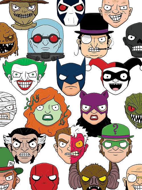 Batman Rogues Gallery Print A4 & A5 size