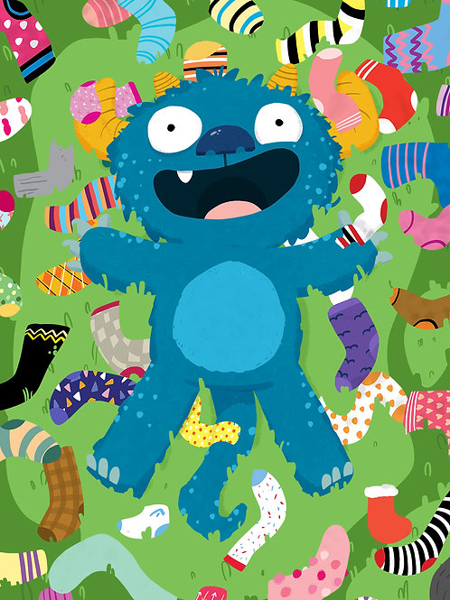 Sock Monster Print A4 or A5 size