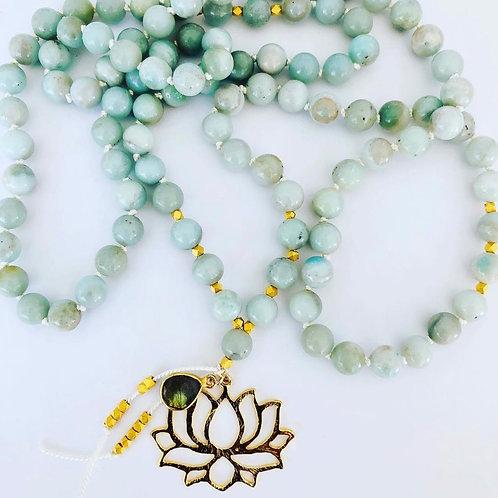 Aquamarine + Lotus Necklace
