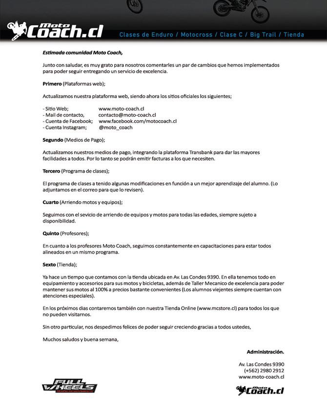 Carta de Novedades Moto Coach