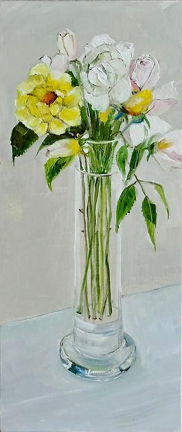 Yellow Bunny & Iceberg Roses in Vase.jpe