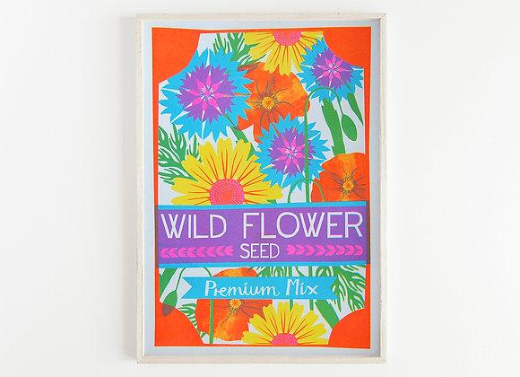 Wild Flower A3 Risograph Print