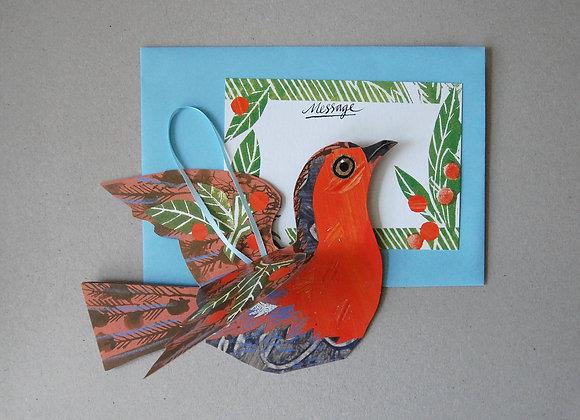 Flying Robin -  Hanging Bird Card