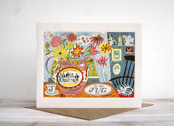 Printmakers Card - J is for Jug