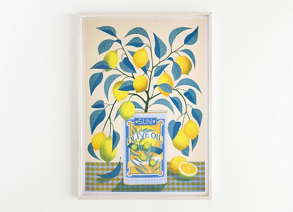 Lemon Tree A3 Risograph Print