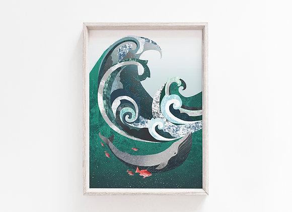 Whale & Wave A4 Art Print
