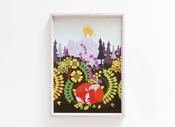 Sleeping Fox A4 Art Print