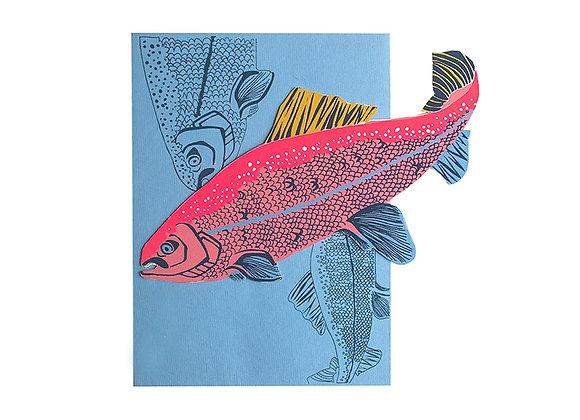 Screen Printed Shaped Card - Salmon