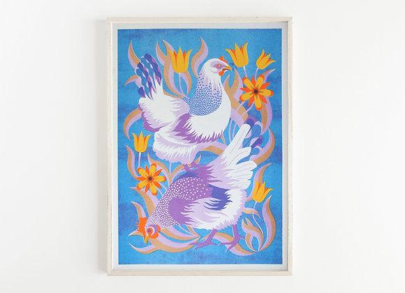 Hens A3 Risograph Print