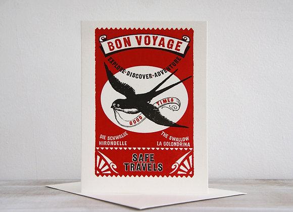 Letterpress Printed Card - Bon Voyage