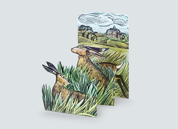 Concertina Card - Hares & Open Fields