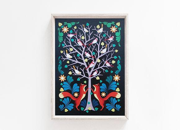 Fox & Tree A4 Art Print
