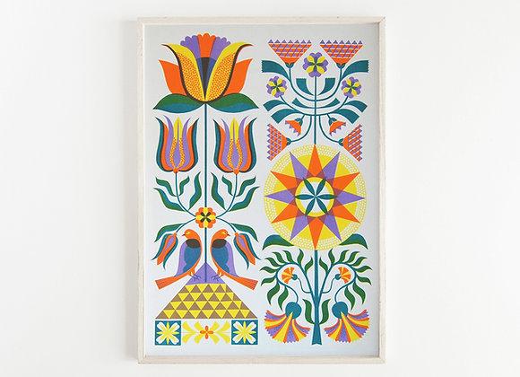 Fraktur Floral A3 Risograph Print