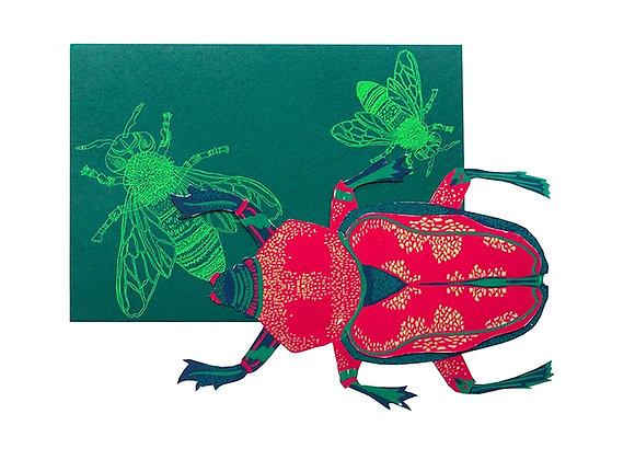 Screen Printed Shaped Card -Scarab Beetle