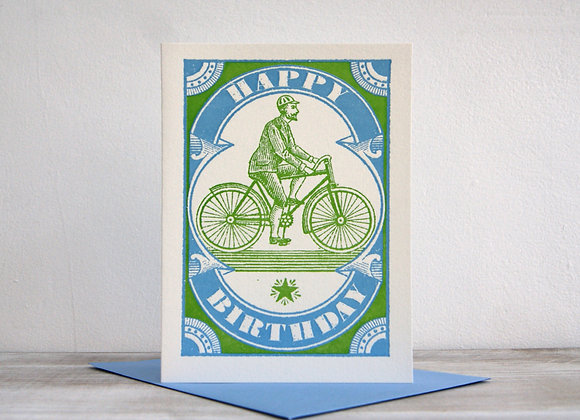 Letterpress Printed Card - Birthday Cyclist