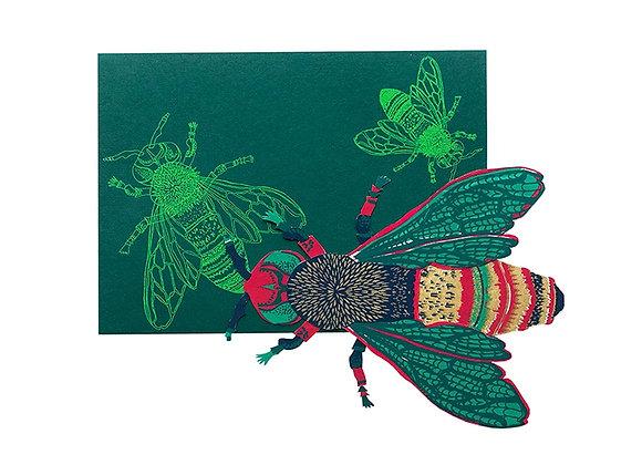 Screen Printed Shaped Card - Wasp