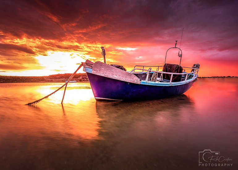 (Photo Framed) Resting Boat at Le Meurrier Bay During The Sunset (PCP2365V2)